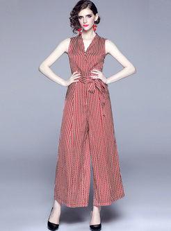 Fashion V-neck Waist Wide Leg Jumpsuit