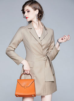 Work Notched Long Sleeve Mini Dress