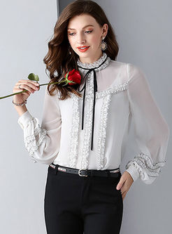 Sweet Standing Collar Silk Blouse