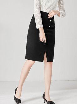 Black High Waisted Slit Slim Skirt