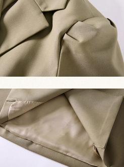 Work Notched Short Sleeve Mini Dress