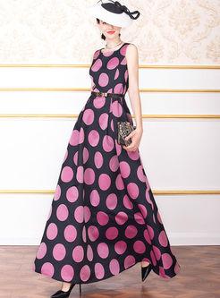 Retro Sleeveless Dot Maxi Dress
