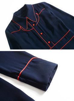 Turn Down Collar Slim Big Hem Dress