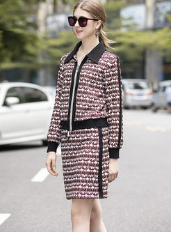 Lapel Long Sleeve Print Two Piece Outfits