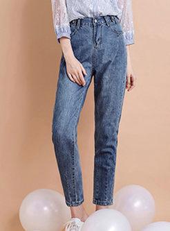 Elastic High Waisted Pencil Jeans