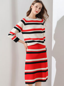 Fashion Striped Knit Two Piece Outfits