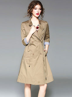 Striped Patchwork A Line Trench Coat