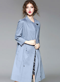 Blue Drawcord 3/4 Sleeve Trench Coat