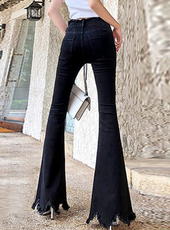 Black High Waisted Irregular Flare Pants