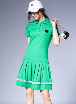 Turn Down Collar Pleated T-shirt Dress