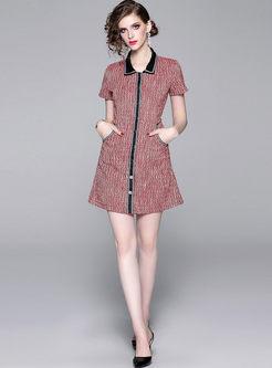 Color-blocked Lapel Slim Dress