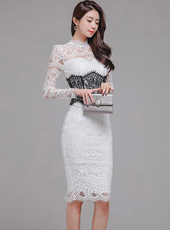 Sexy Lace Openwork Bodycon Dress