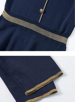 O-neck Short Sleeve Waist Skater Dress