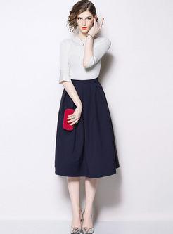 Flare Sleeve High Waisted Suit Dress