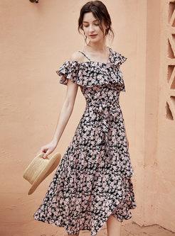 Bohemian Floral Falbala A Line Dress