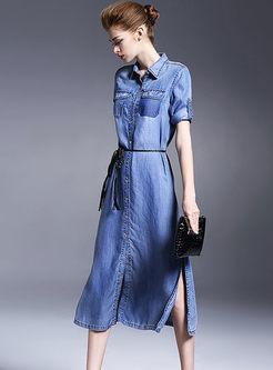 Turn Down Collar 3/4 Sleeve Denim Dress