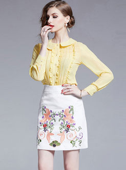 High Waisted Embroidered Bodycon Skirt