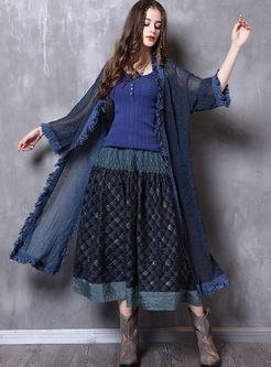 Tassel Patchwork Openwork Long Kimono