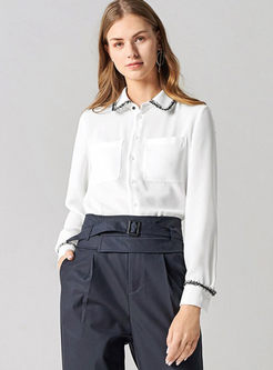 Brief White Turn Down Collar Blouse