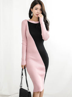 O-neck Long Sleeve Bodycon Knit Dress
