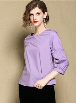 Purple 3/4 Sleeve Loose T-shirt