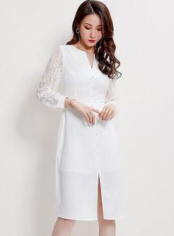 Work V-neck Lace Patchwork Slim Dress