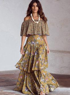 Bohemian Slash Neck Floral Maxi Dress