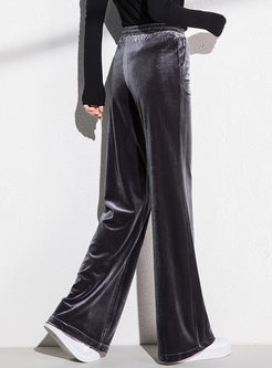 Elastic High Waisted Velvet Pants