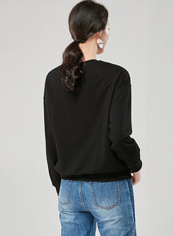 O-neck Pullover Leopard Print Sweatshirt