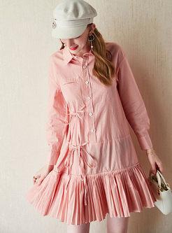 Casual Lapel Striped Shirt Dress