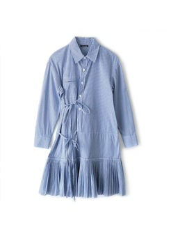 Turn Down Collar Long Sleeve Shirt Dress