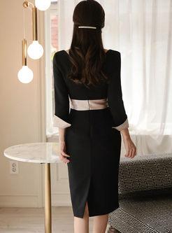 Color-blocked Flare Sleeve Bodycon Dress