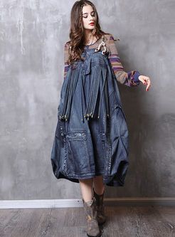 Retro Denim Tassel Lantern Skirt