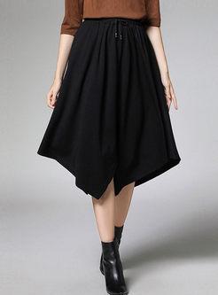 High Waisted Drawcord Irregular Skirt