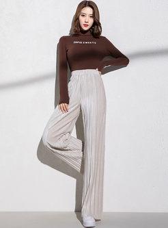 Elastic Waist Velvet Straight Pants