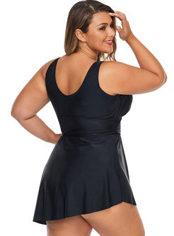 Black Plus Size V-neck Tankini