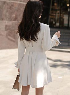 Work Notched Mini A Line Dress