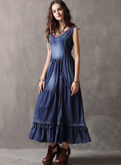 Retro V-neck Sleeveless Denim Maxi Dress
