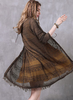 Retro Openwork Slim Tassel Kimono