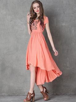 Embroidered Irregular Big Hem Dress