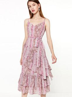 V-neck Print Bowknot Waist Sun Dress
