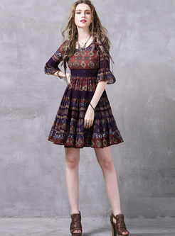 O-neck Half Sleeve Print Chiffon Dress