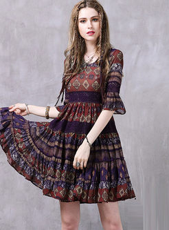 O-neck Half Sleeve Print Chiffon Dress