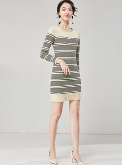 Brief Striped Long Sleeve Knit Dress