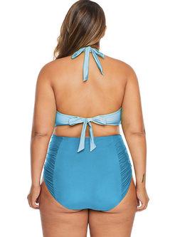 Openwork Halter High Waisted Bikini