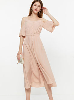 Off-the-shoulder Half Sleeve Maxi Dress