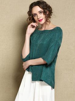 O-neck 3/4 Sleeve Irregular T-shirt