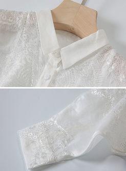 White Lapel Bat Sleeve Blouse