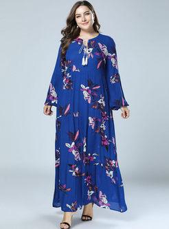 Plus Size Print Loose Maxi Dress