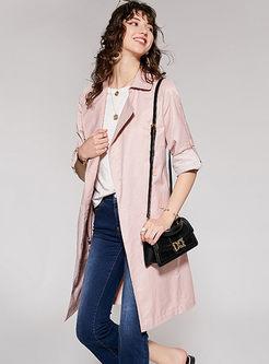 Sweet Pink Lapel Tie-waist Trench Coat